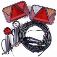 SET: Lămpi spate cu LED Fristom FT-270, lămpi gabarit LED Horpol LD 726 cu cablaj de 7 m cu 7-pin