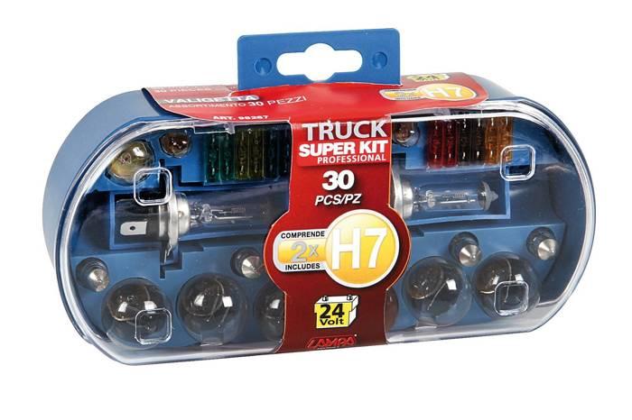 Becuri auto H7 24 volt + siguranțe SET 30 bucăți