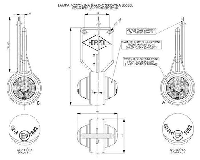 Lampă gabarit pentru remorci auto LED Horpol 368 frontală/spate dreaptă
