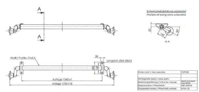 Osie fără frână pentru remorci auto AL-KO optima 1130 mm 750 kg 100x4