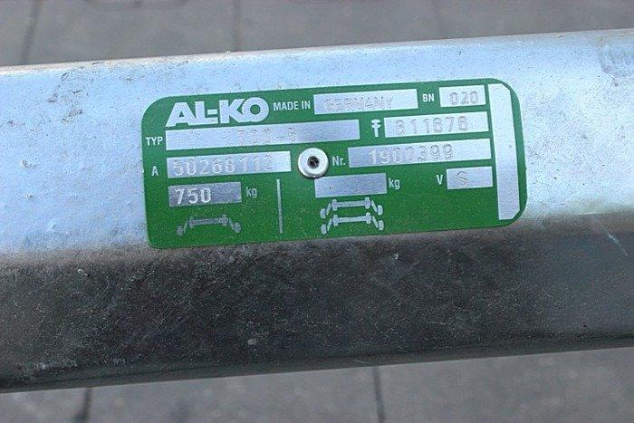 Osie fără frână pentru remorci auto AL-KO optima 1340 mm 750 kg 100x4