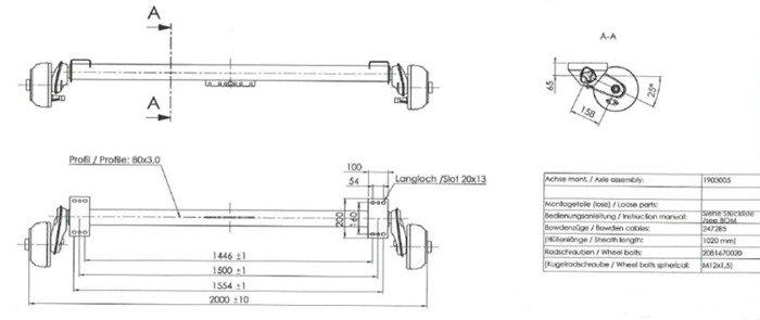 Osie pentru remorci  transport ambarcațiuni cu frână AL-KO 1500 mm 1350 kg 5x112 W-PROOF (cu rulmenții rezistenți la apă))