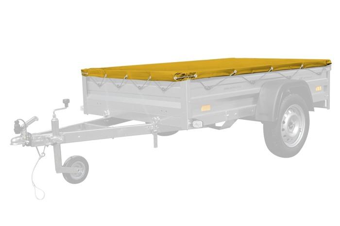 Prelată plată galbenă 200x125 pentru remorcă Garden 205