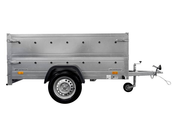 Remorcă auto monoax 230 x 125 Garden Trailer 230 KIPP 750 KG MMA cu roată de sprijin și obloane BIS