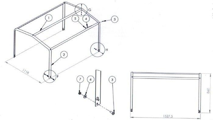 Remorca auto ușoară 150 x 106 cu schelet prelată și prelată Garden Traler 150 , masa totală maximă admisă de 750kg