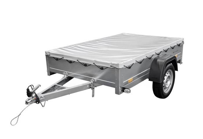 Remorcă monoax Unitrailer 200x125 GARDEN TRAILER 201 KIPP cu prelata gri și roata de manevră