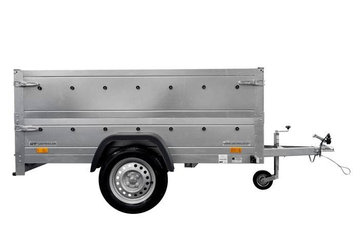 Remorcă monoax transport marfă 200x125 MMA 750 KG Garden Trailer 201 KIPP cu laturi BIS și roată de sprijin