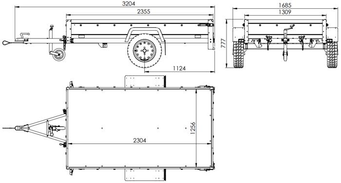 Remorcă monoax transport marfă GARDEN TRAILER 230 KIPP cu roată de susținere, obloane bis și cadru H-800 cu prelată gri
