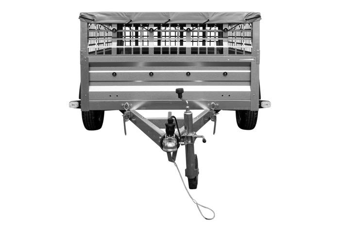 Remorca pt. categoria B cu prelată plată, roată de sprijin și obloane duble grilaj 200x125 Garden Traler 205 DMC 750 kg