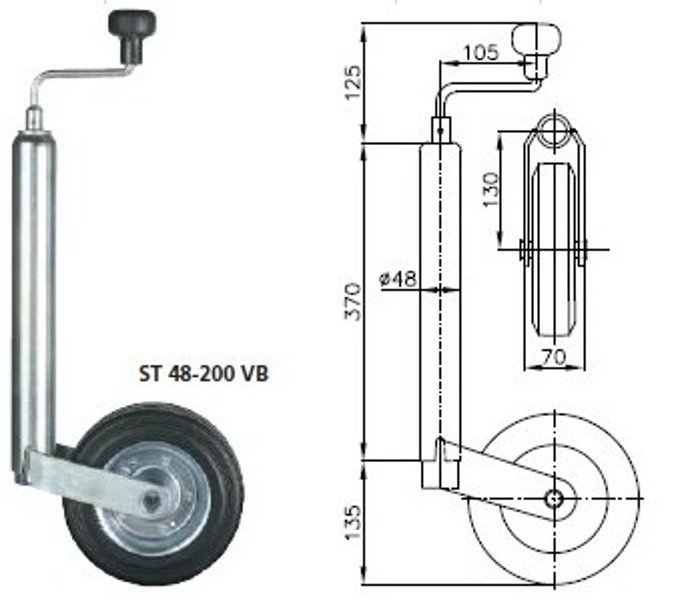 Roată de sprijin remorcă Winterhoff ST 48-200 VB 150 Kg