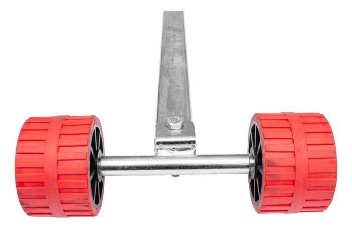 Suport reglaj roșu cu role pe stâlp pentru peridoc
